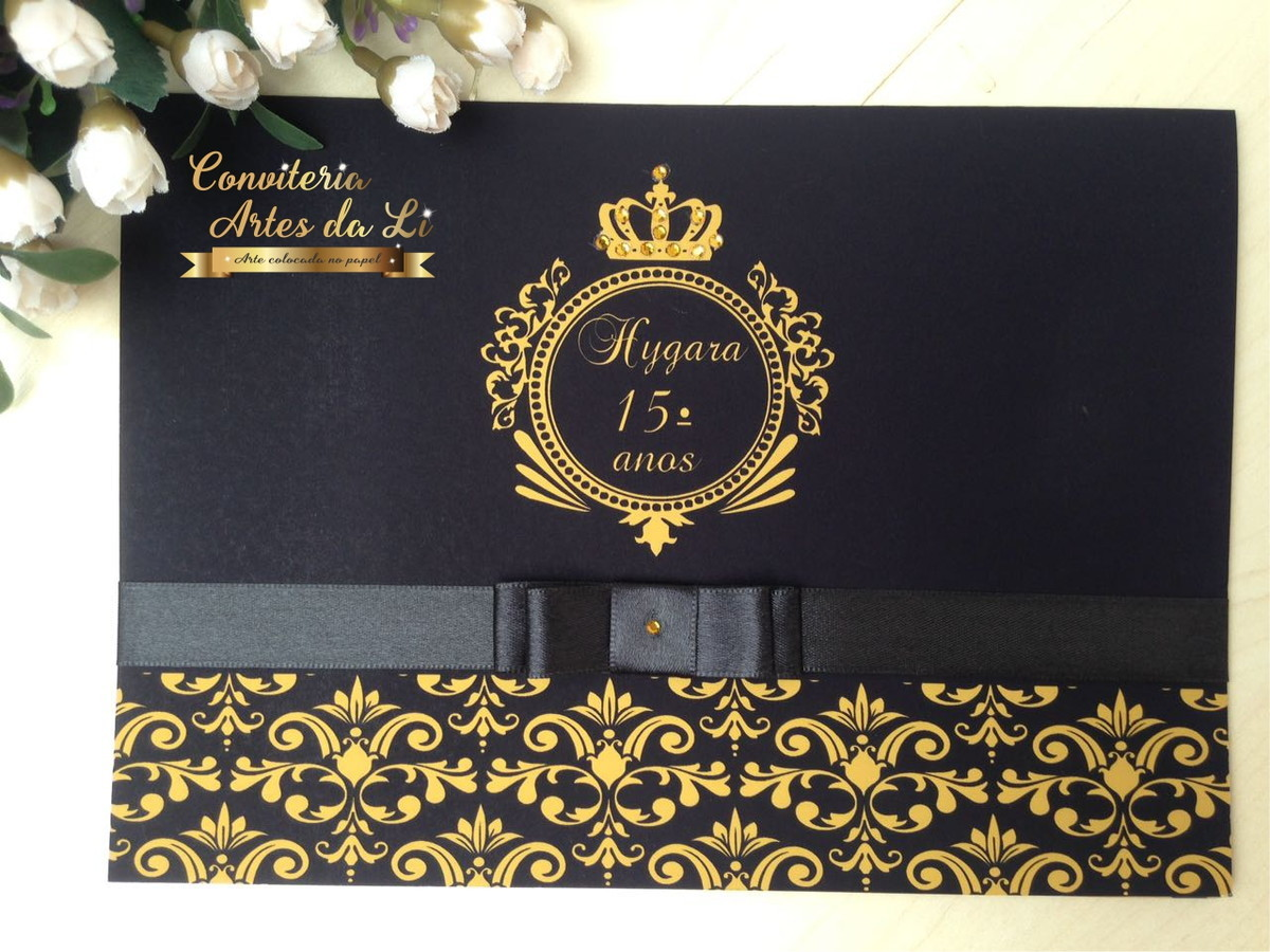 convite 15 anos preto e dourado no elo7