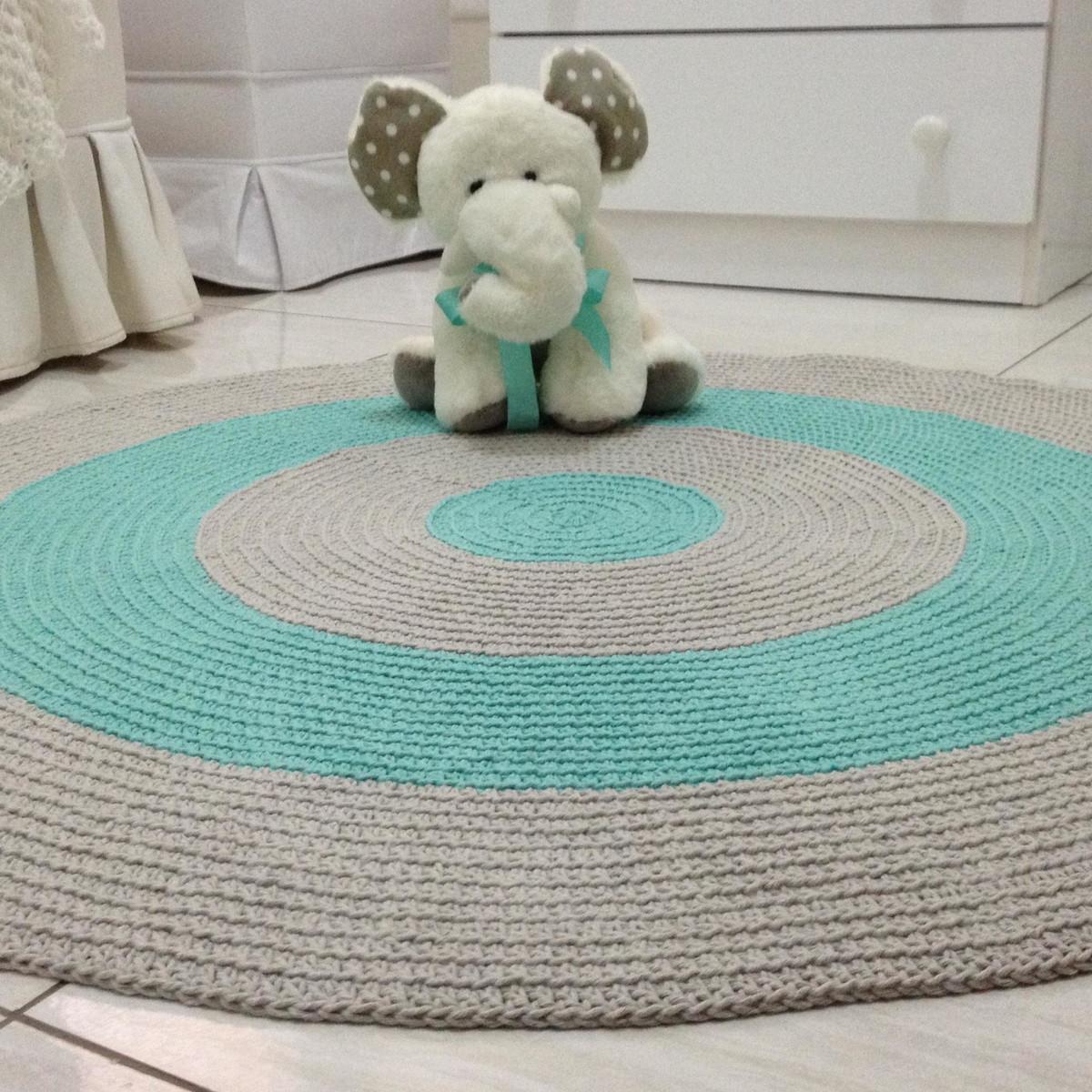tapete croch redondo verde agua e cinza baby luquinha ateli vera peixoto elo7. Black Bedroom Furniture Sets. Home Design Ideas