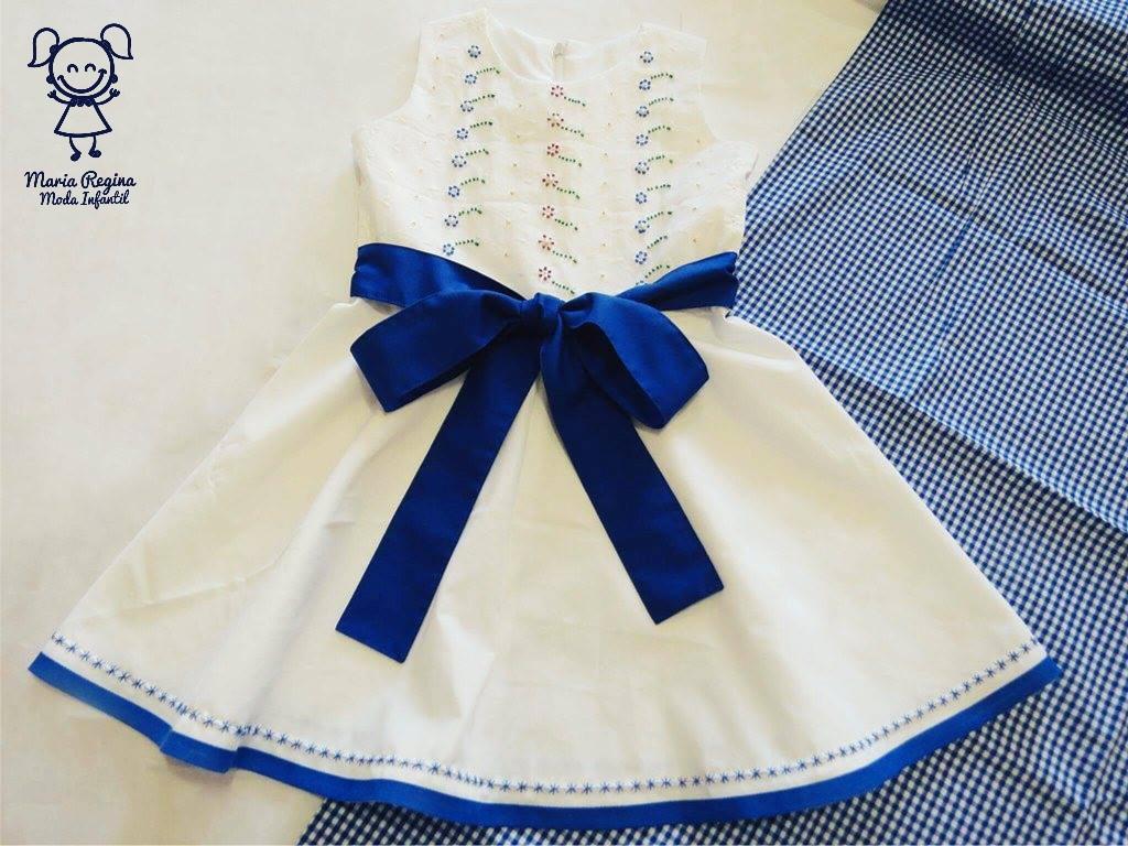 5eab245fca Vestido branco laço azul (ves024) no Elo7
