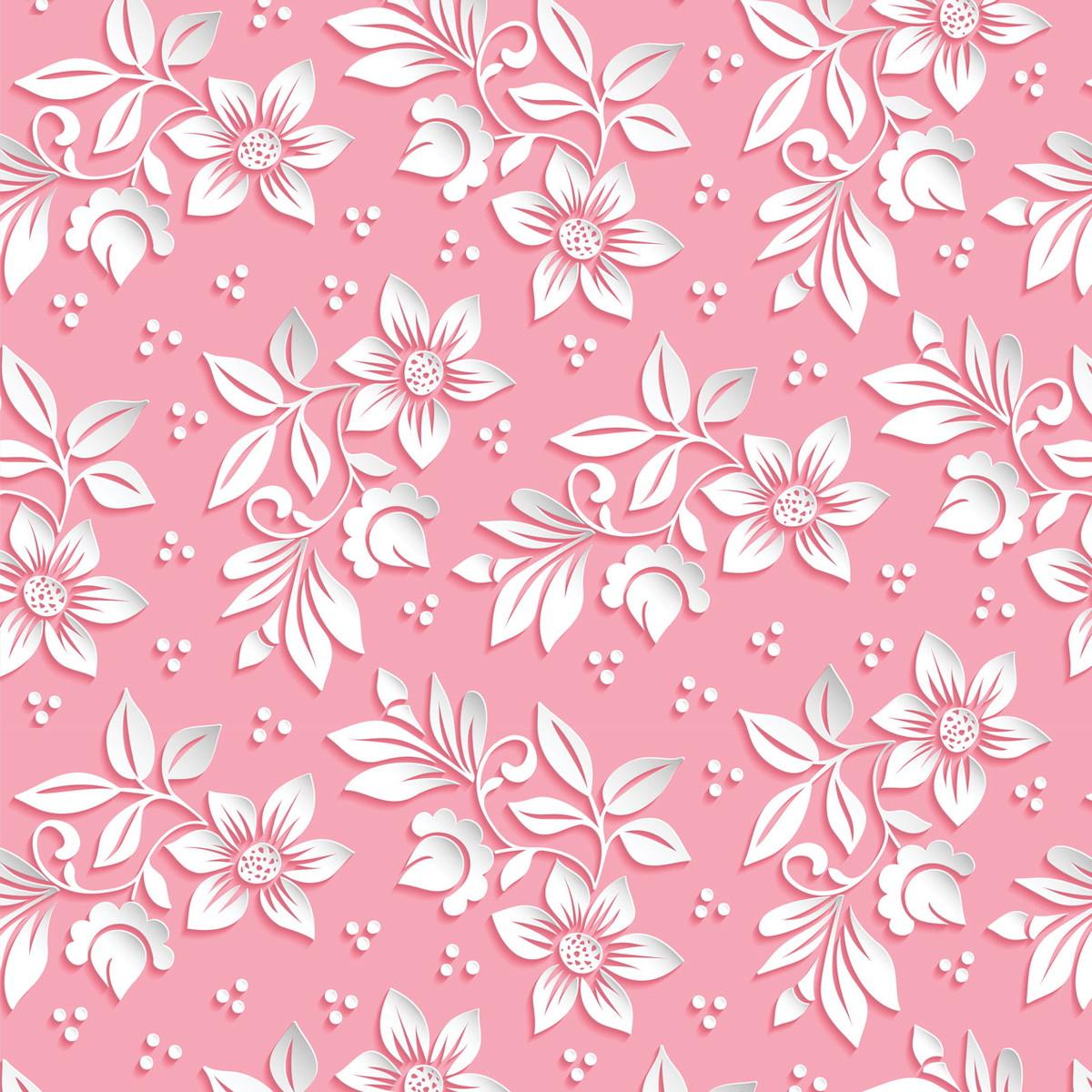 Papel de parede floral em 3d fundo rosa no elo7 - Papel decorado para paredes ...