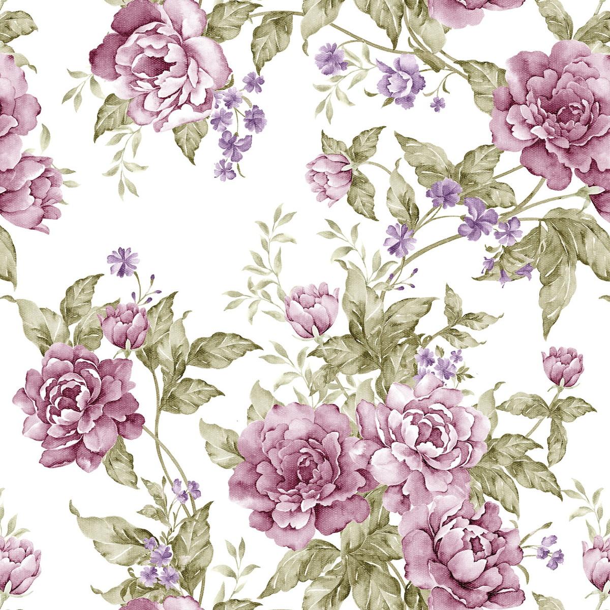 zoom papel de parede flores lils fundo branc