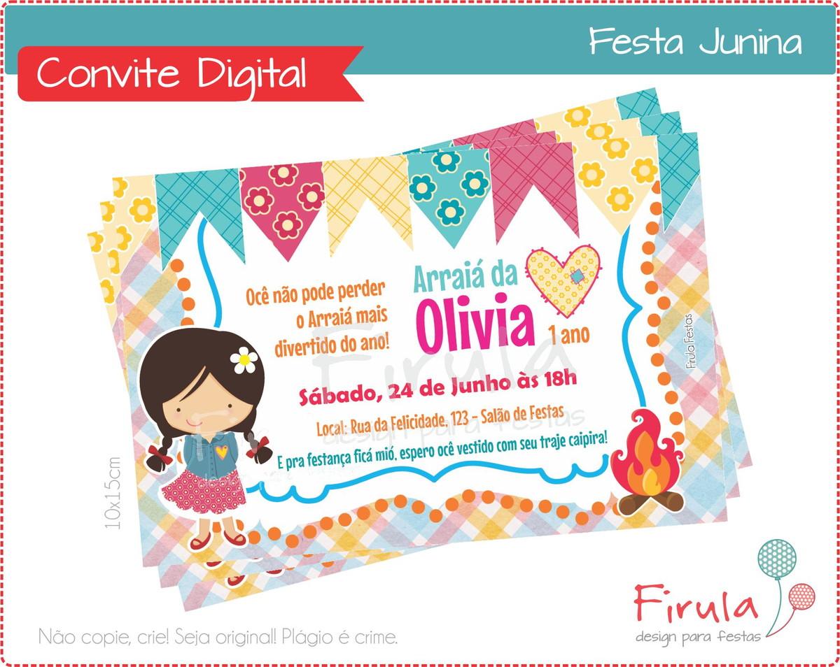 Convite Digital Festa Junina Menina No Elo7 Firula Festas 402cfb