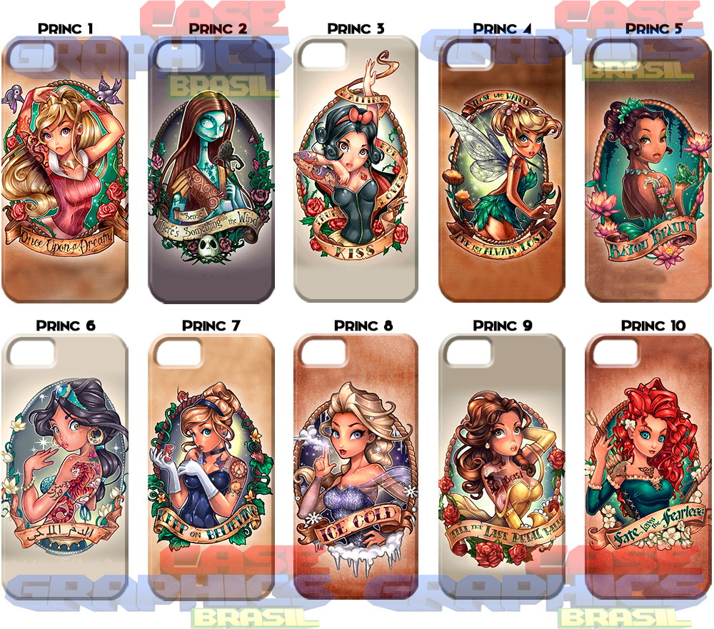 Capinha capa celular 3d Princesas tattoo no Elo7  2aecde929ddac