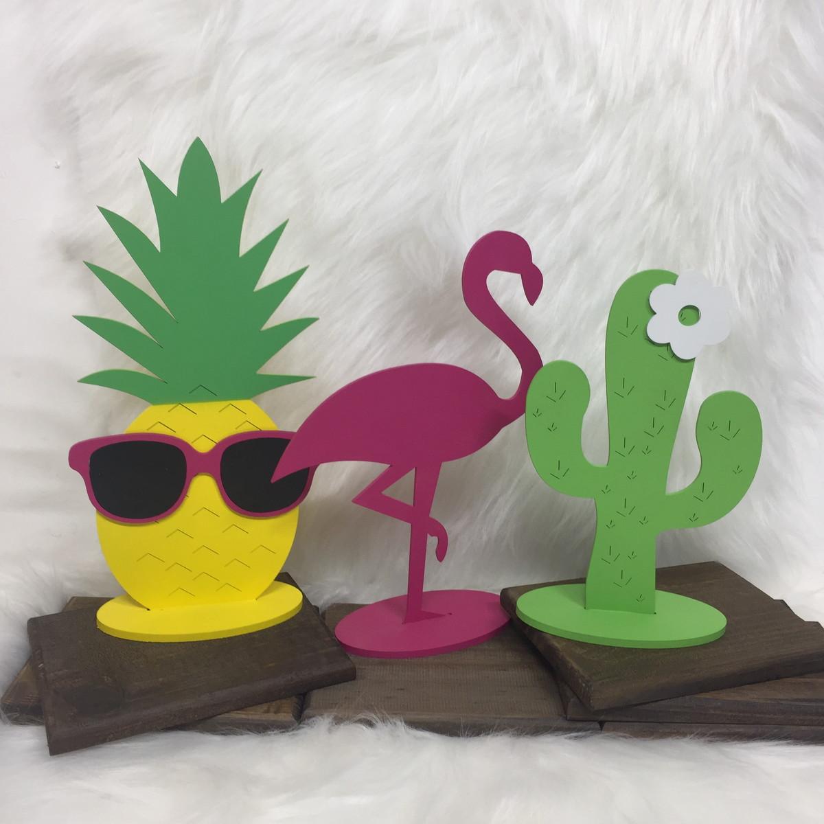Flamingo, Abacaxi e Cacto MDF decoraç u00e3o no Elo7 Atelier Belly (93F588)