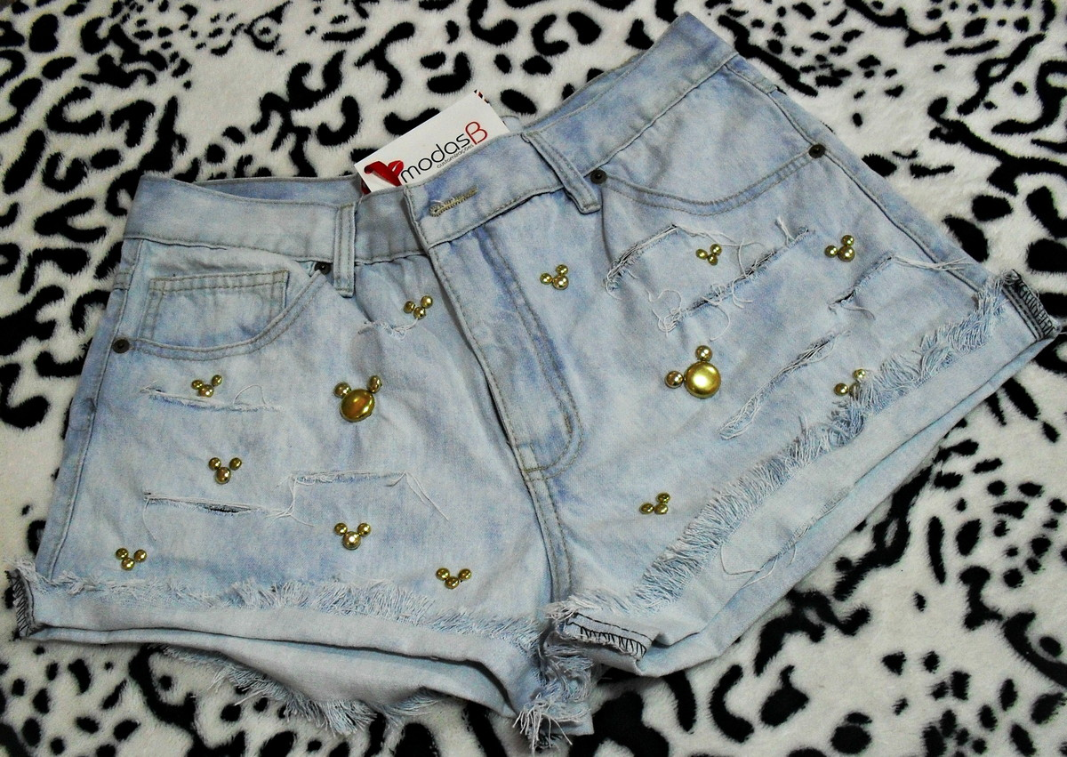 893d6eeaba Short Jeans Destroyed Minnie e Mickey Modelo 6 no Elo7