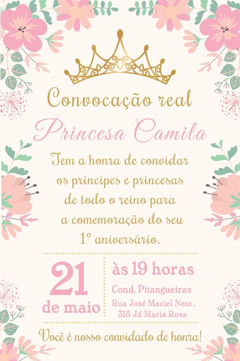 arte convite digital aniversario princesa no elo7