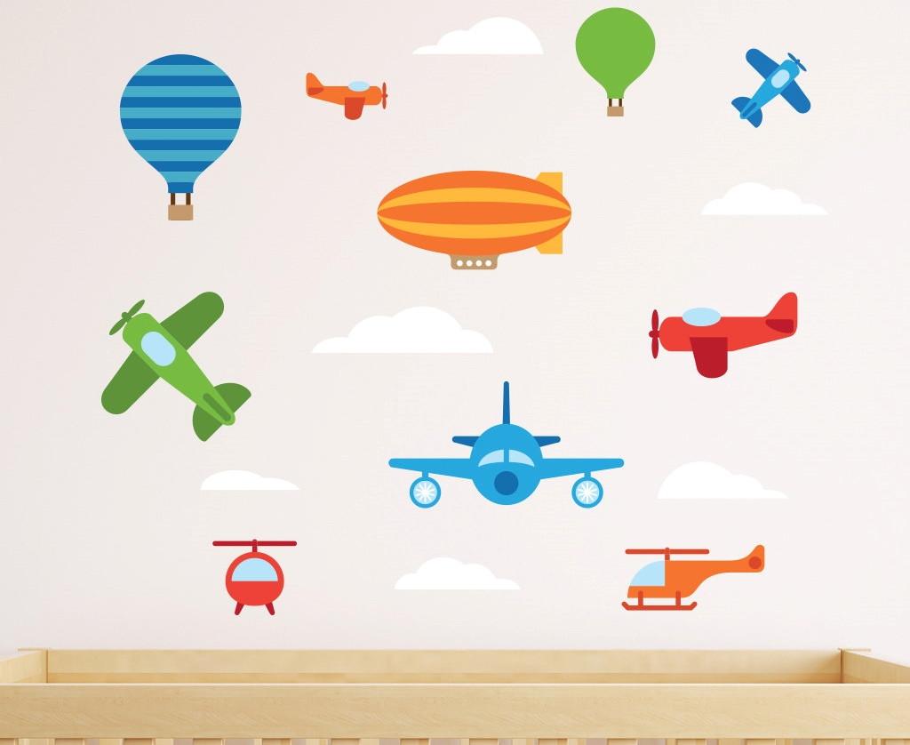 adesivo aviões balões nuvens no elo7 quarto de criança
