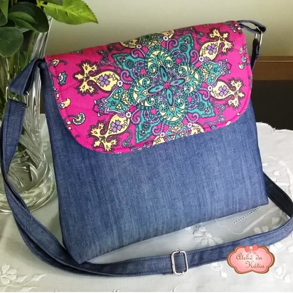 8535285456 Bolsa feminina em tecido - Jeans Rosa no Elo7