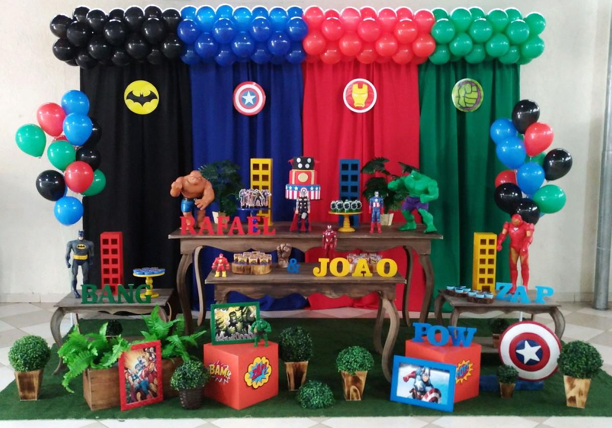 Decoraç u00e3o Heróis Rústica no Elo7 Rede Festas Decorações (88146F) # Decoração De Festa Os Vingadores