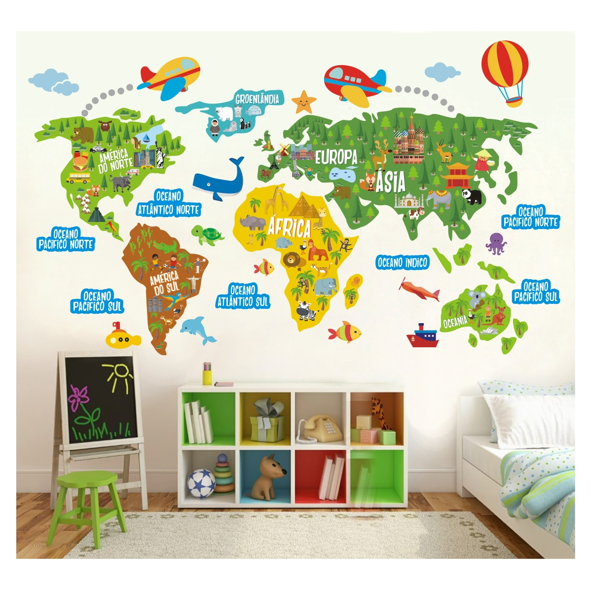 Adesivo mapa mundi infantil recorte m10 no elo7 for Papel decorativo pared infantil