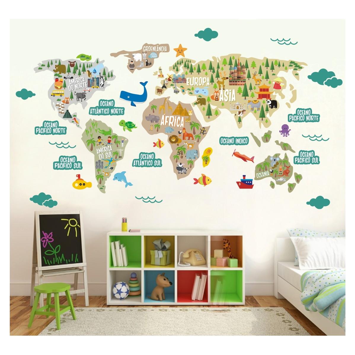 Adesivo Mapa Mundi Infantil Recorte M11  QuartinhoDecorado  Elo7