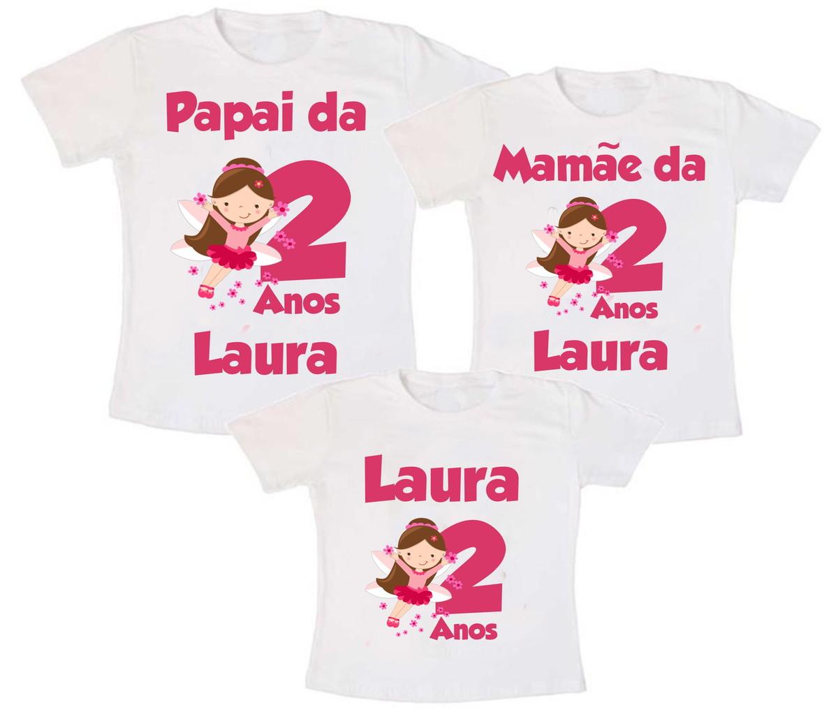 Kit 3 Camiseta Fadinha Aniversário no Elo7  9f4d35a5ed64a