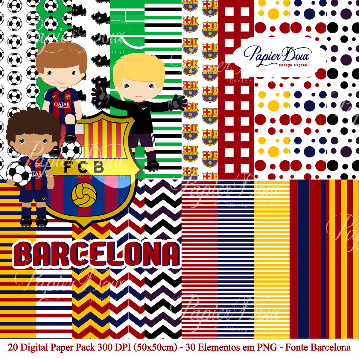 Kit Digital Futebol Barcelona no Elo7  99b6a340db0a7