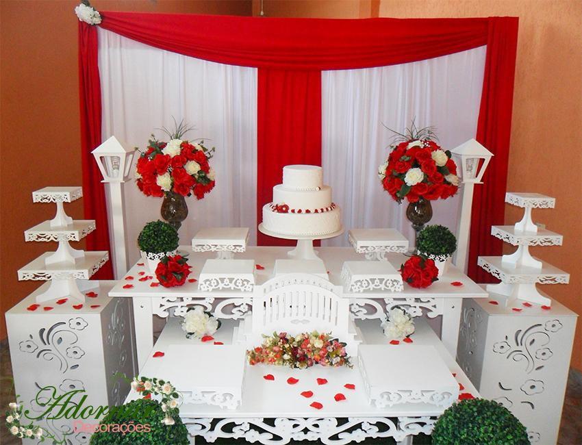 Decoração de casamento vermelho e branco bolo