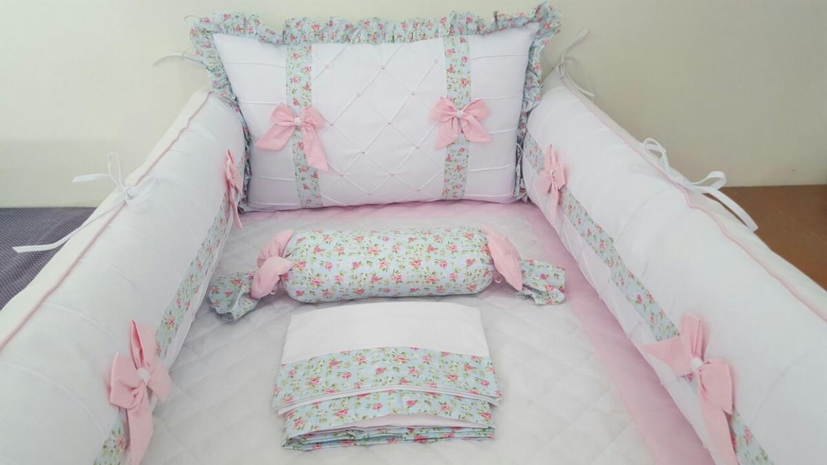 Muitas vezes Kit Berço floral Lúcia Rosa e Azul Laços no Elo7  EC11