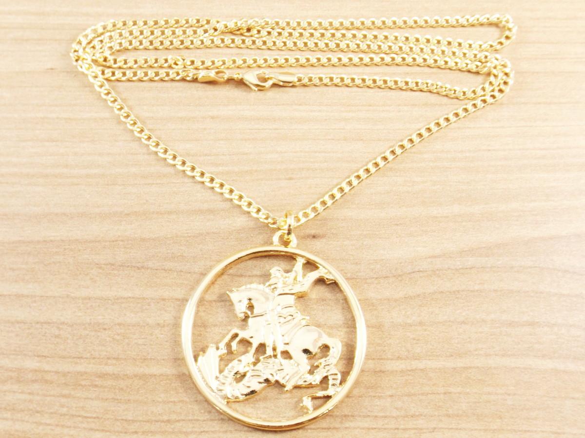 Corrente Masculina Grumet 70Cm 3mm + São Jorge Folheada Ouro no Elo7 ... 0fea72b04e
