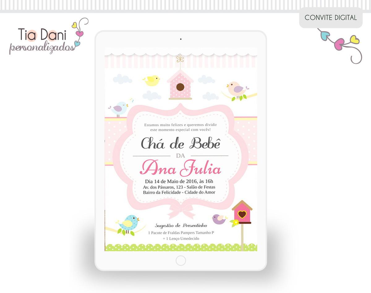 Mensagem De Convite De Cha De Fralda: Convite - Chá De Fralda Passarinho Rosa No Elo7