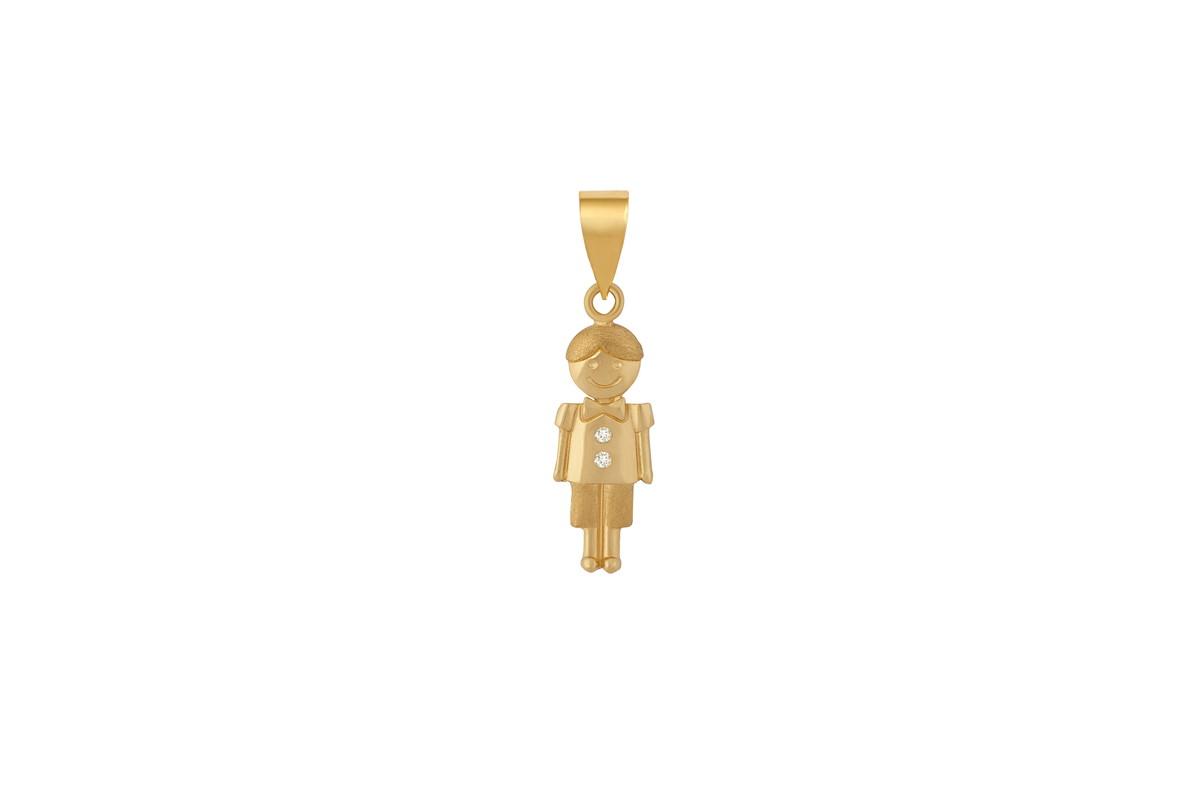 Pingente Menina c  brilhantes em ouro no Elo7  9bab2e186917d
