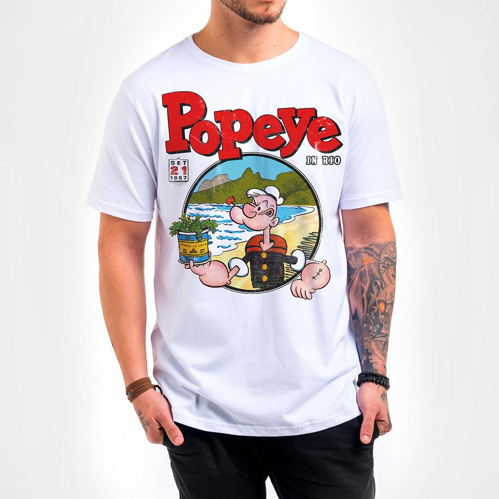 96559e640 Camisa Masculina Branca Popeye in Rio no Elo7