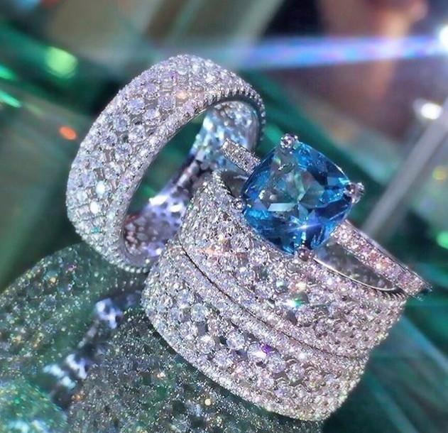 4e014aba6aece Solitário Tiffany Topázio Azul no Elo7   RS semi jóias (97D642)