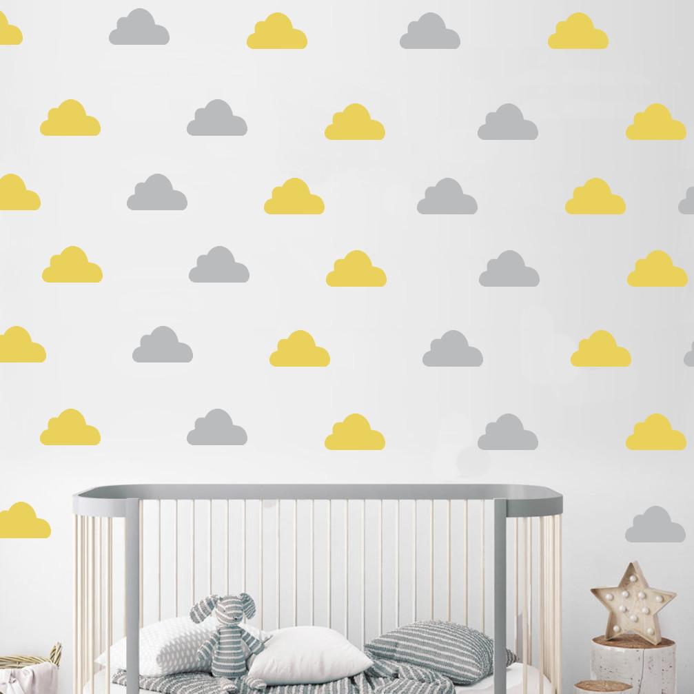 Adesivo de Parede Nuvem Amarelo e Cinza no Elo7 Ideiative Design Criativo (9813ED)