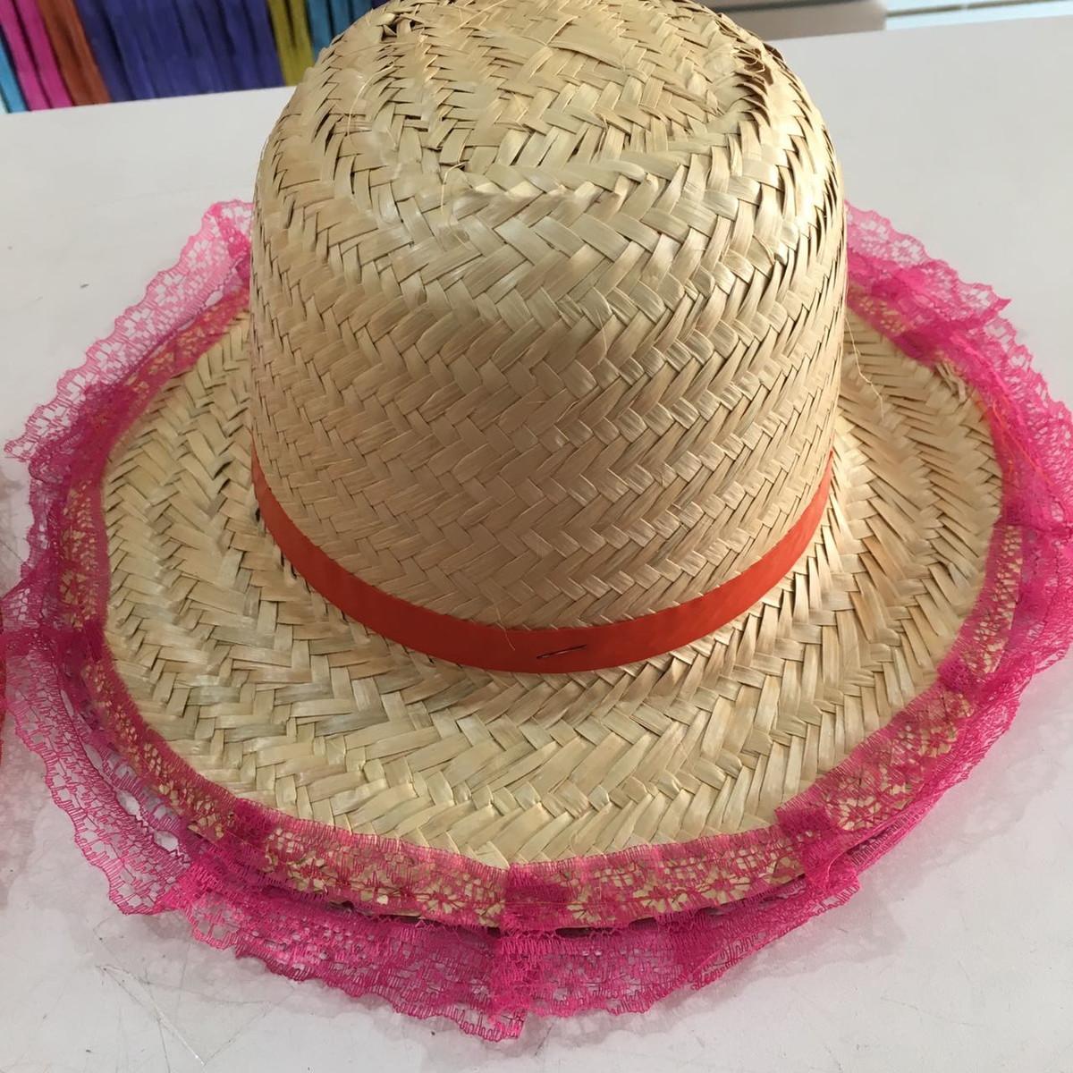 0bf522af1b166 Chapéu de Palha Feminino com Rendinha no Elo7