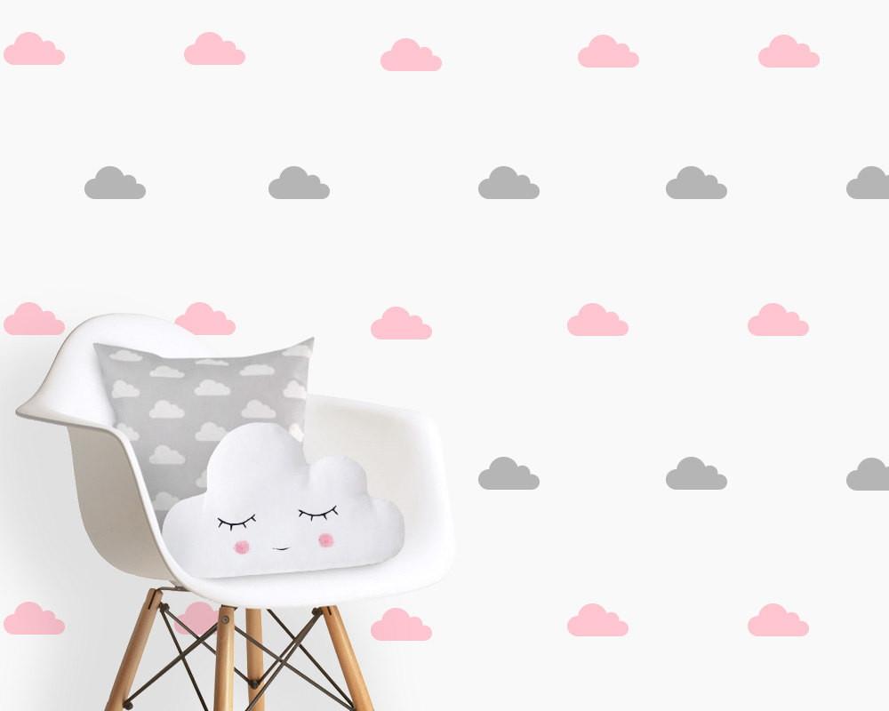 Artesanato Brasileiro Em Sp ~ Adesivo nuvens cinza e rosa no Elo7 Quarto de Criança