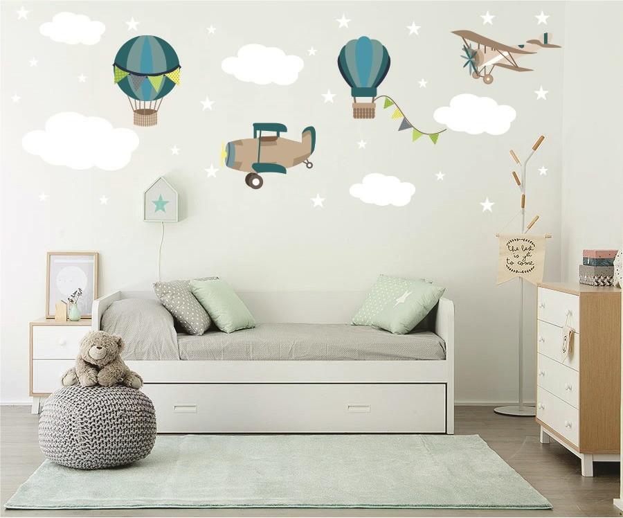 Aparador Cocina Madera ~ Adesivo aviões balões nuvens no Elo7 Quarto de Criança Lojadecoreacasa (9879E8)