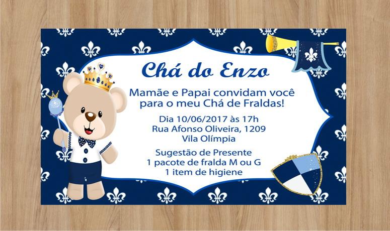 Convite Ursinho Príncipe 10x7cm No Elo7 Criarteshop 9894fe