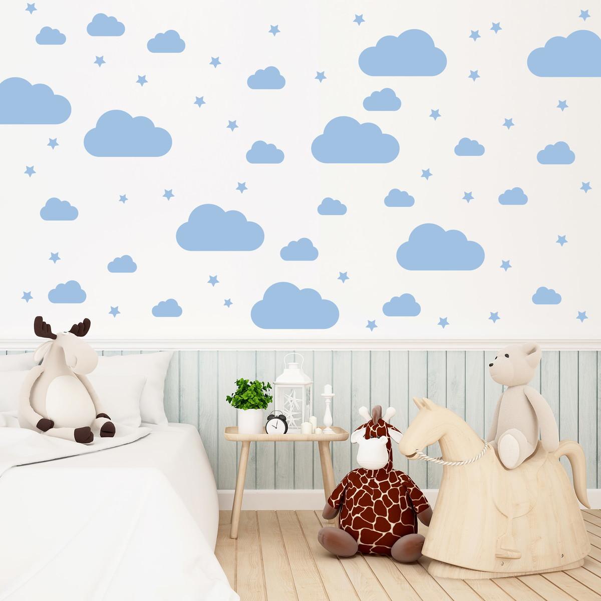 Armario Modulado Quarto Casas Bahia ~ Adesivo Quarto Infantil 64 Nuvens Azul Quartinhos Elo7