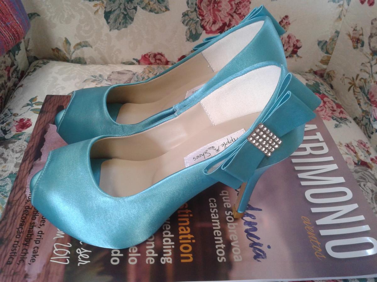 3db1867f855 Sapato de Noiva Azul Tiffany no Elo7