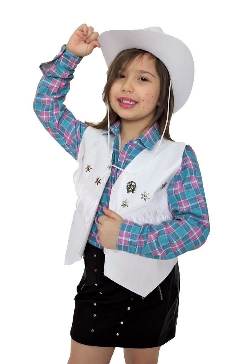 4b8e9e7f03286 Colete e chapeu cowboy Menina Infantil no Elo7