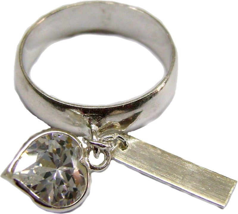 32d094b45a28e Anel de plaquinha prata zirconia coração no Elo7   DSR Jóias (9901DE)