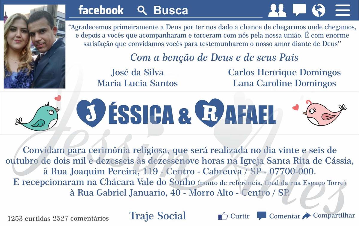 Convite Digital Noivado / Casamento Face no Elo7 | Jessim