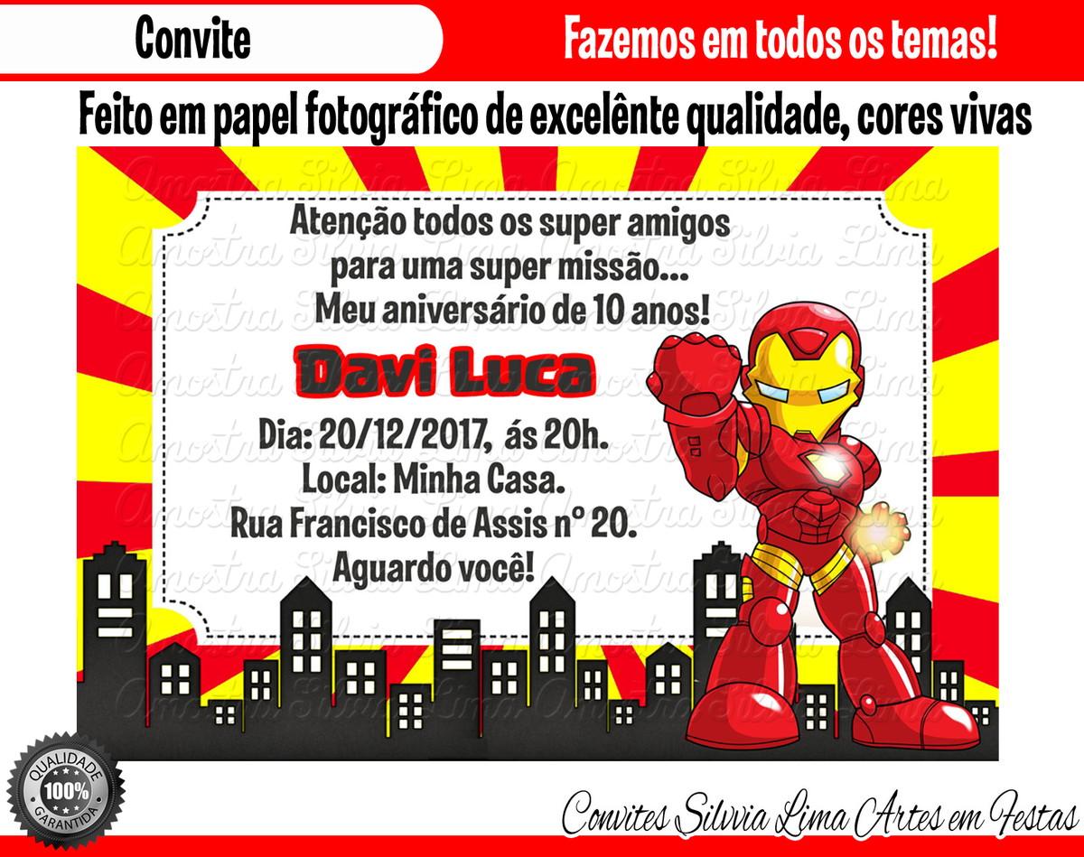 Convite Homem De Ferro Vingadores No Elo7 Silvia Lima Artes Em