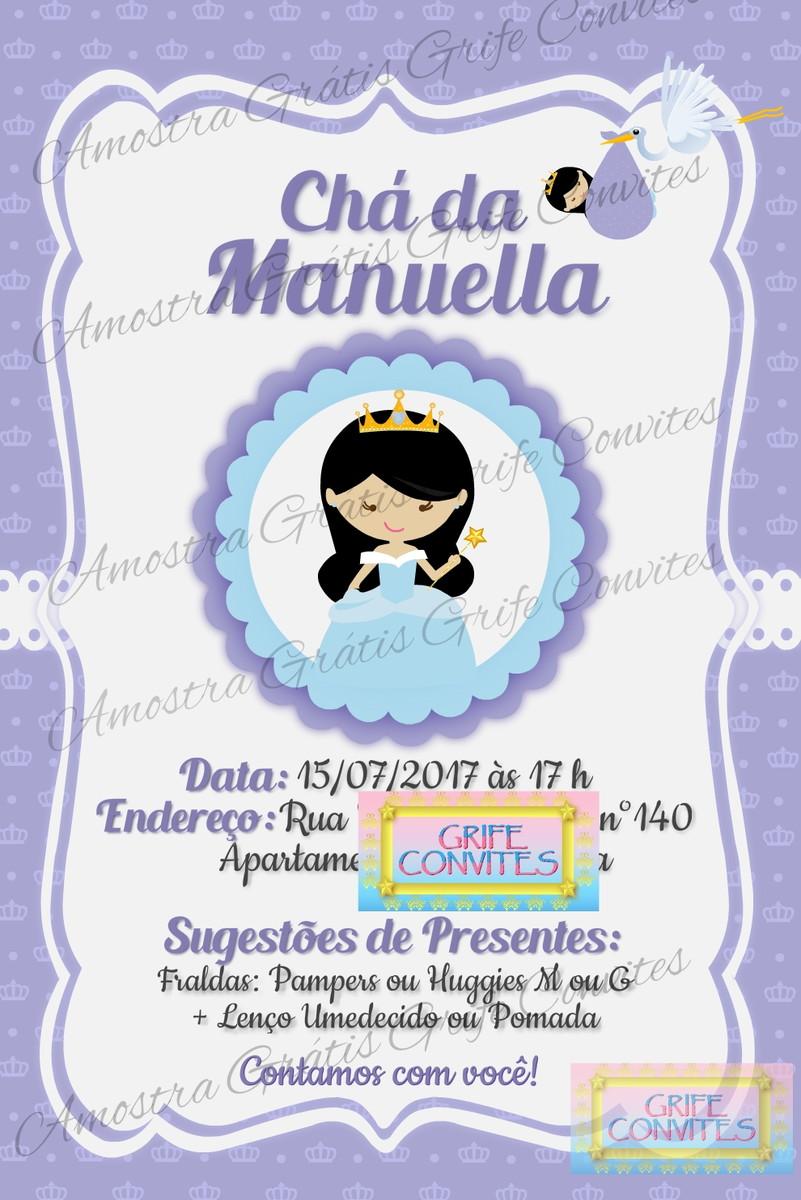 Convite Chá De Bebê Princesa P Imprimir No Elo7 Grife Convites
