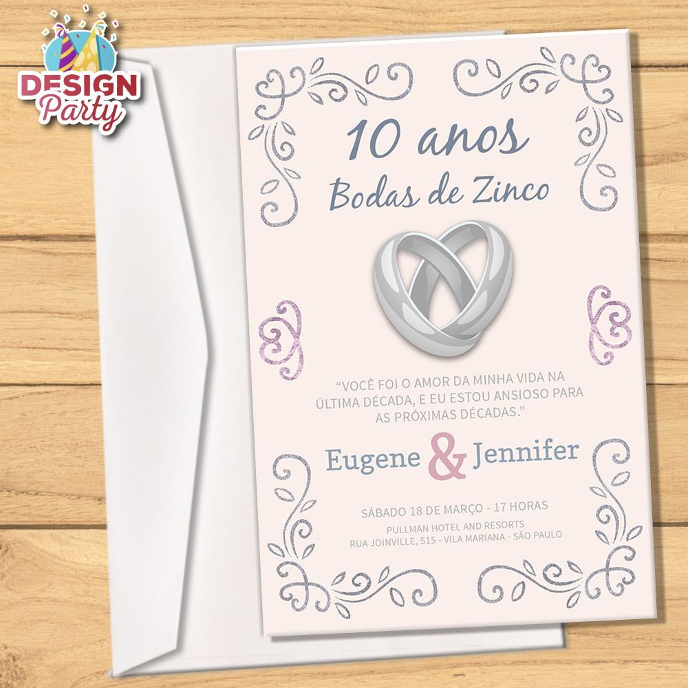 Convite Bodas De Zinco 10anos Envelope No Elo7 Design Party 9927e6