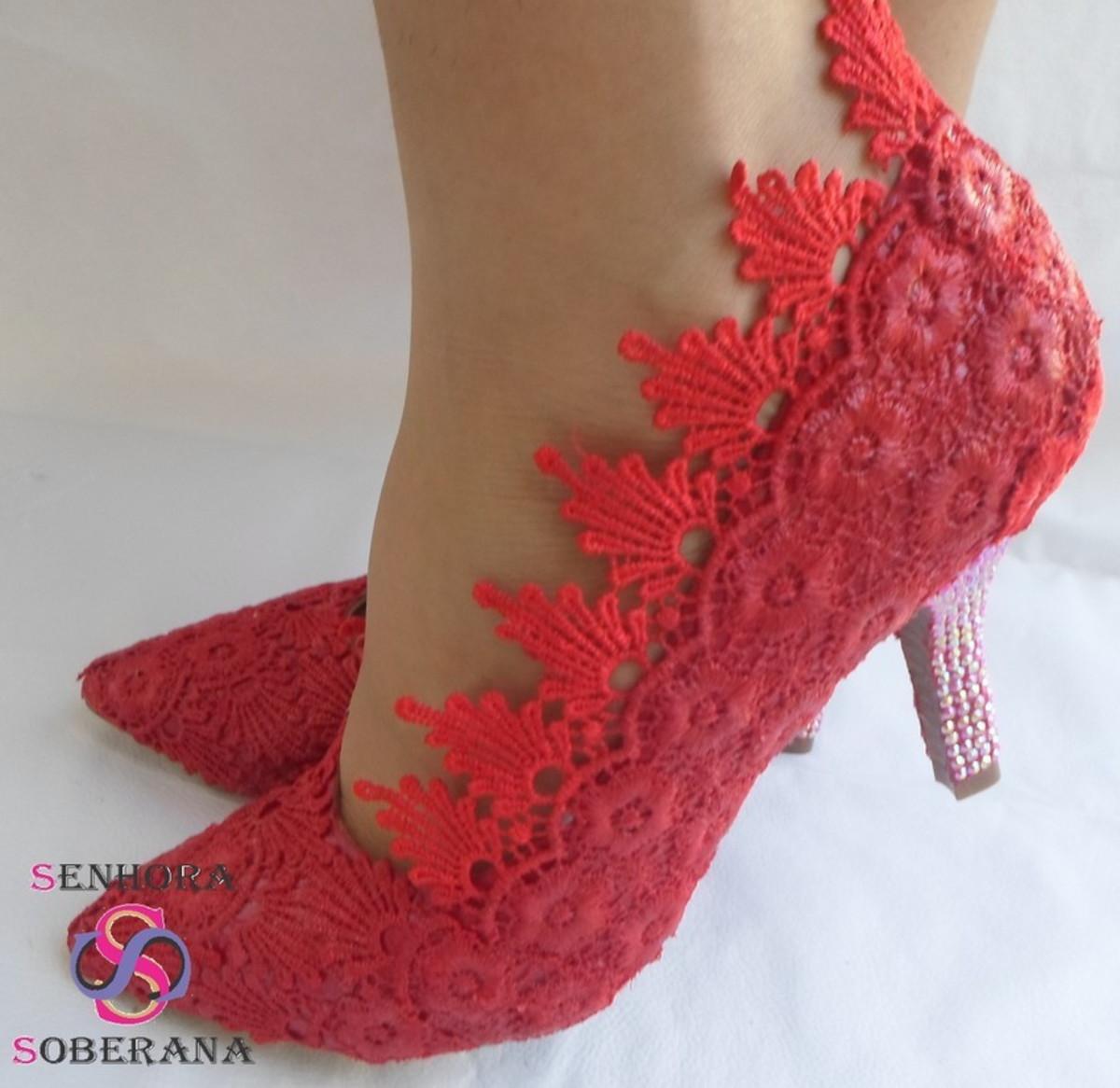 20f705940e Sapato scarpin vermelho Festa no Elo7