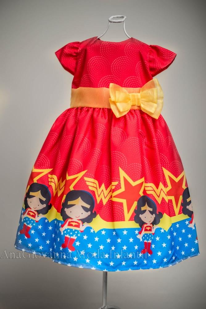 93d941b9c0 Vestido Festa Infantil Mulher Maravilha no Elo7