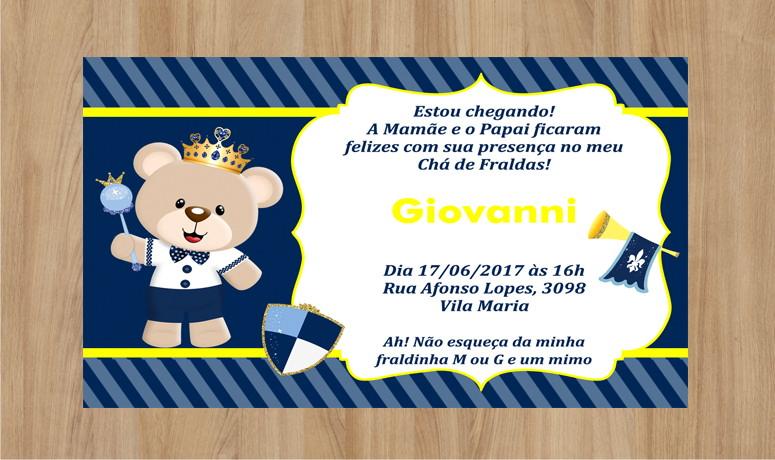 Convite Ursinho Príncipe 10x7cm No Elo7 Criarteshop 994a20