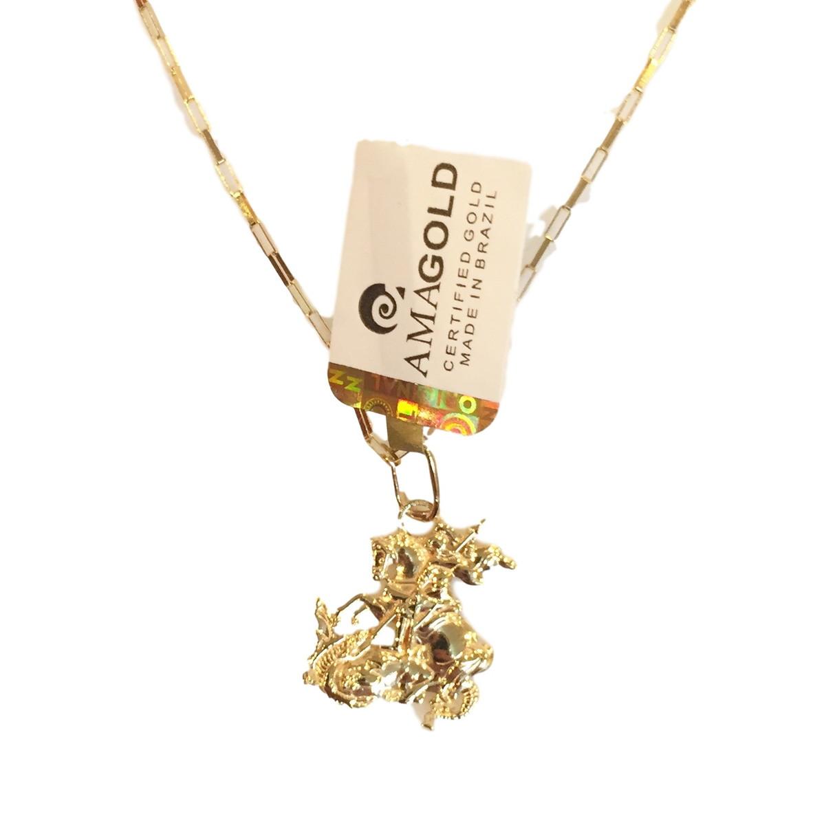 Pingente Cordão São Jorge Ouro 18k no Elo7   FELDENS JÓIAS (9993E4) 0d2efa0121