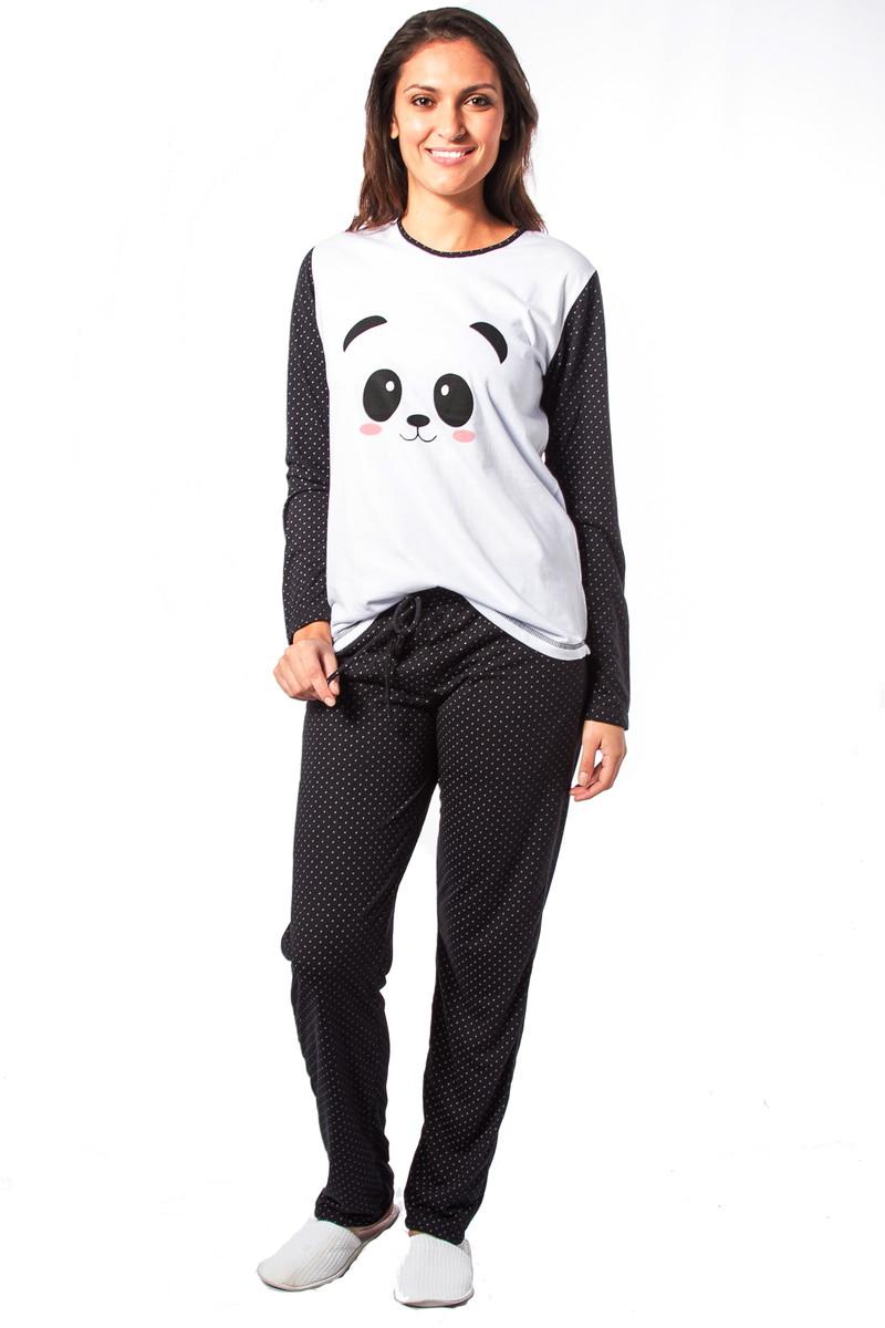 380b4f44e Pijama Feminino Inverno de Panda Poá no Elo7