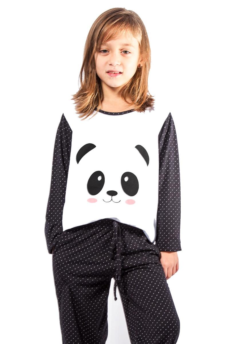 ce404c1c59 Pijama Feminino Infantil de Panda Poá no Elo7