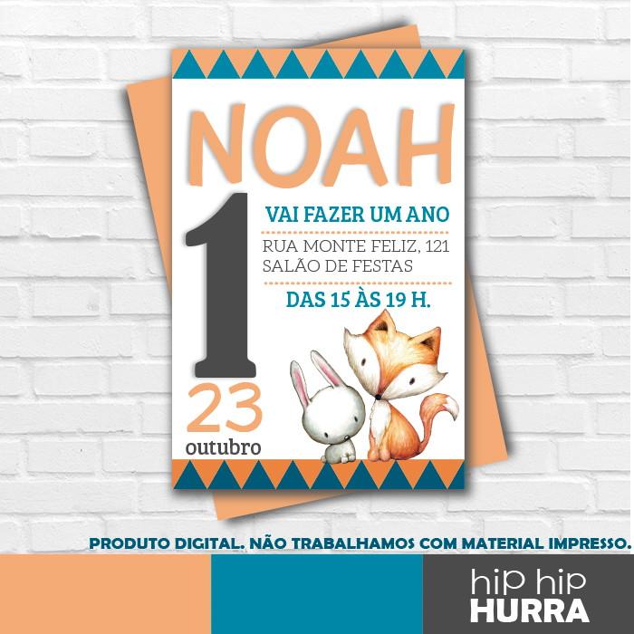 Convite Aniversário Raposa E Coelho