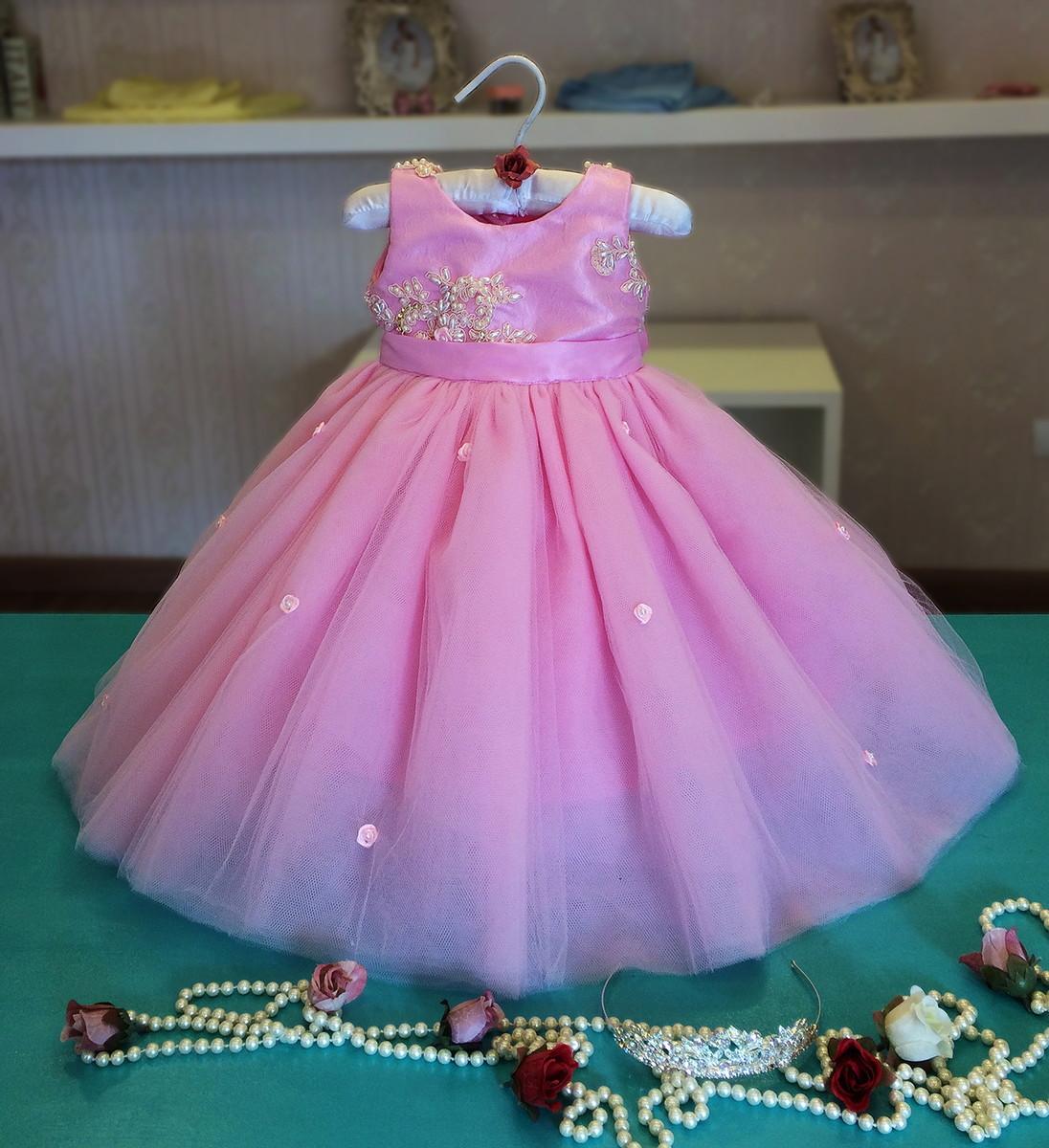 7b730a981 Vestido para Daminha Rosa - Infantil no Elo7   Liminha Doce - Moda ...