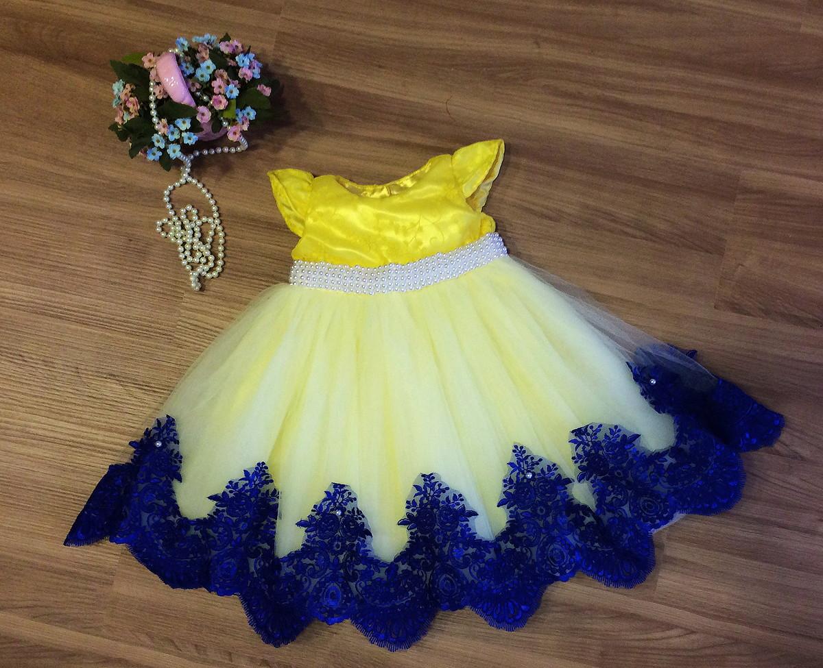 Vestido festa azul e amarelo