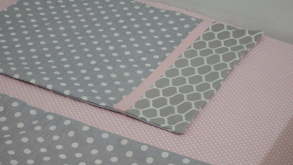 83c271a07 Jogo lençol berço americano cinza rosa no Elo7