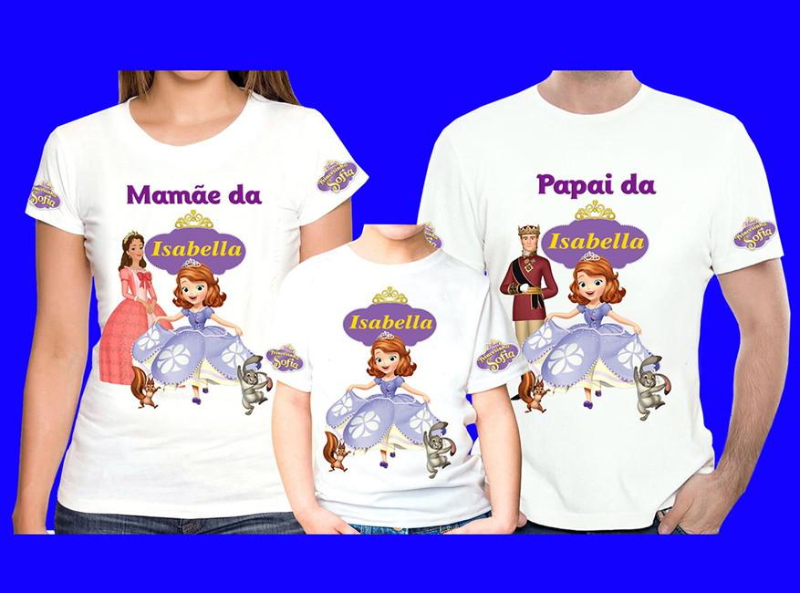 1c2977a6b Kit 3 camisetas Princesa Sofia no Elo7