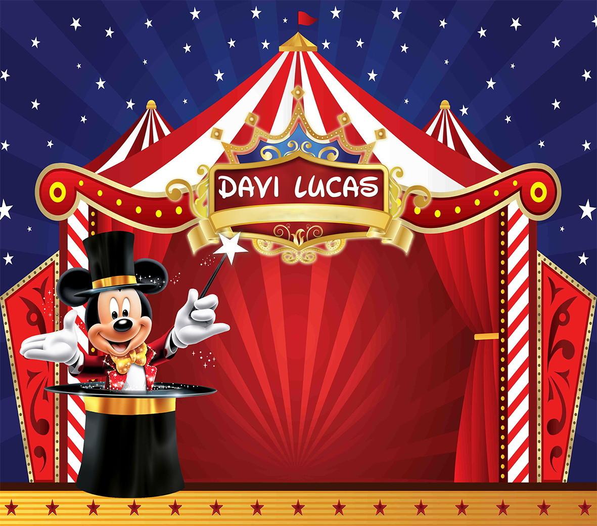 Painel 1x0,65m Mickey Circo No Elo7