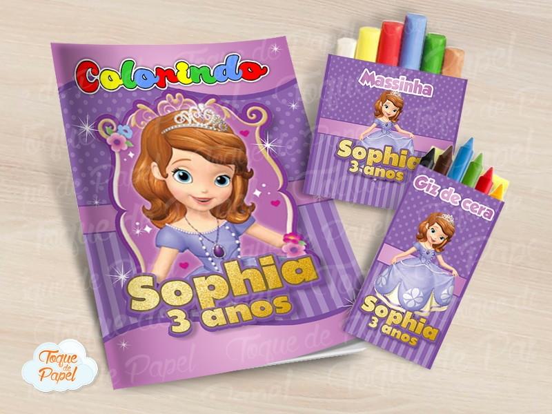 Kit Colorir Princesa Sofia Giz Massinha No Elo7 Toque De Papel